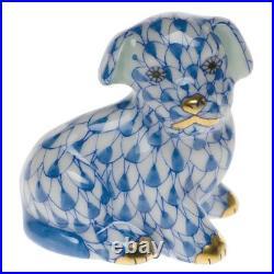 Herend Mini Puppy Blue Fishnet Brand Nib #hvhb-15247 Painted Porcelain Cute F/sh