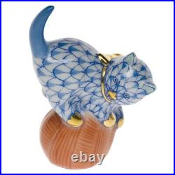 Herend Mischievous Cat Blue Fishnet #vhb-05221 Brand New In Box Cute Save$$ F/sh