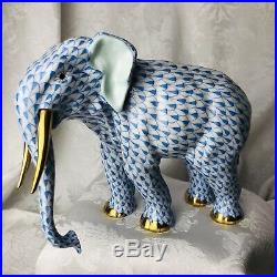 Herend Porcelain Elephant Walking 24k Gold Tusks Blue Fishnet