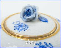 Herend Porcelain Hungary Chinese Bouquet Blue Gold Teapot Rose Finial & Saucer