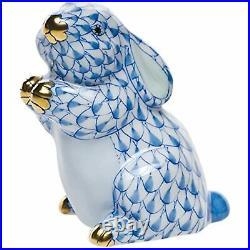 Herend Pudgy Bunny Rabbit Porcelain Figurine Blue Fishnet