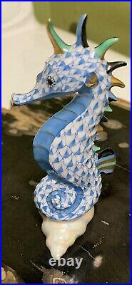 Herend Seahorse on Scallop Shell Porcelain Figurine Blue Fishnet