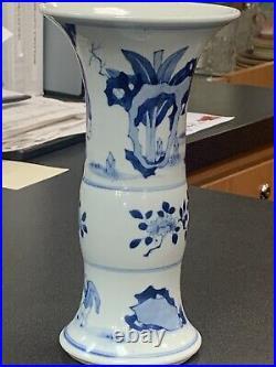 Important Chinese porcelain blue white beaker vase Kangxi period 18th C