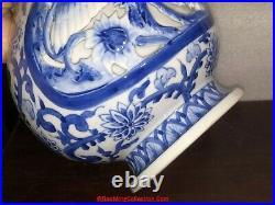 Japanese Hirado Arita Double Wall Blue & White Porcelain Vase Dragon Phoenix