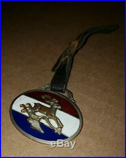 John Deere Red White & Blue Porcelain Watch Fob Horse Drawn Plows XX-2 Nice