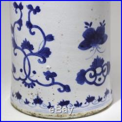 Kangxi Chinese Antique Porcelain Blue And White Vase With Flowers 18th Century