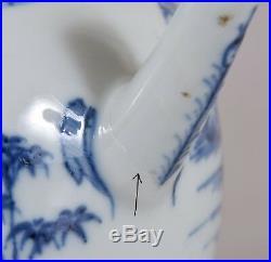 Kangxi Period Blue White Teapot Chinese Porcelain Qing Dynasty Landscape