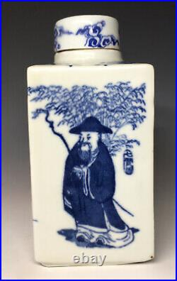 Kangxi Qing Dynasty Porcelain Chinese Tea Caddy with Lid Blue & White