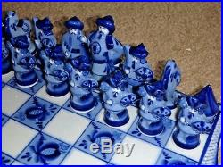 Kulikovo Field Chess. Blue&White Porcelain. Gzhel Russia