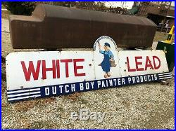 LQQK! ORIGINAL Vintage DUTCH BOY PAINT Painter WHITE LEAD Sign PORCELAIN Old WOW