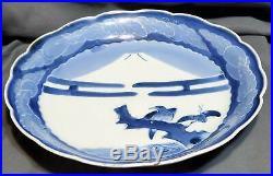 Large 17th C. Japanese Arita Porcelain Plate Dish Blue & White Imari Wax Resist