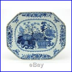 Large Antique Chinese Qianlong Blue and White Porcelain Meat Platter Circa 1770