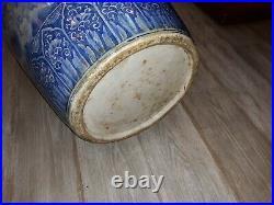Large Antique Japanese Blue and White Porcelain Palace Vase With Hawks 1800's