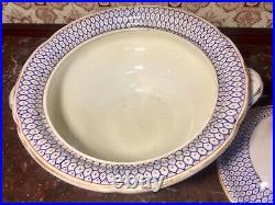 Large Antique Old Paris Porcelain Tureen Dish Blue White Acorn Branch Handles