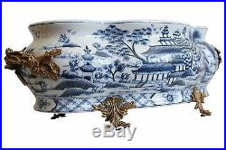 Large Blue and White Blue Willow Porcelain Foot Bath Basin Brass Ormolu Accents