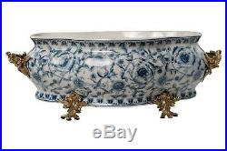 Large Blue and White Chinoiserie Porcelain Foot Bath Basin Brass Ormolu Accents