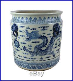 Large Blue and White Dragon Porcelain Large Planter Bowl 18 Diameter