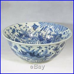 Large Blue and White Porcelain Fish Motif Large Bowl 26 Diameter