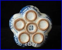 Large Old Chinese Blue and White Porcelain Lotus Vase Signed KangXi Period