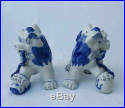 Large Pair Blue White Porcelain Foo Dogs Statues Asian Chinese Lions Feng Shui