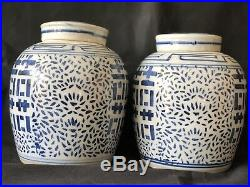 Large Pair GINGER JAR with Lid porcelain Blue Double Happiness Chinese Late 19th C