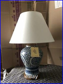 Large Ralph Lauren Home Collection Mandarin Blue White Floral Ginger Jar Lamp