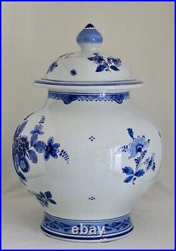 Large Royal Delft De Porceleyne Fles Blue & White Round Covered Ginger Jar 15
