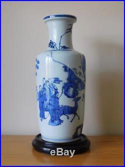 Large antique chinese blue & white porcelain kangxi marked rouleau vase