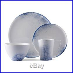 Lexa 16 Piece White and Blue Porcelain Dinnerware Set, Service for 4