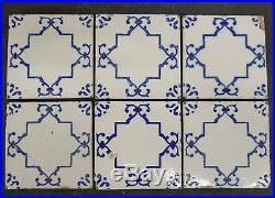 Lot of 6-Antique Portuguese Tile Blue/White Portugal