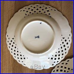 Lovely Pair Antique Meissen Blue & White Onion Pattern Pierced Rim Plates