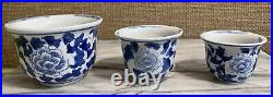 Lovely set of Blue White Porcelain Chinoiserie Cachepot Planters Graduated Sizes