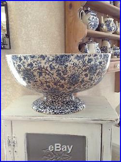 Maddocks works Royal porcelain Lamberton pedestal punch bowl blue & white floral