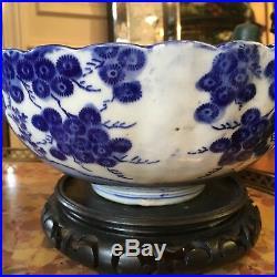 Meiji Japanese Late 19th Century Blue & White Porcelain Imari Bowl Plum Tree