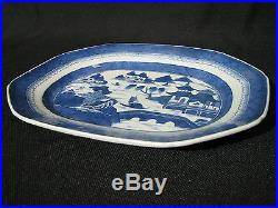 Mid-19th Century Chinese Canton Blue & White Porcelain 12.5 Platter, Mint