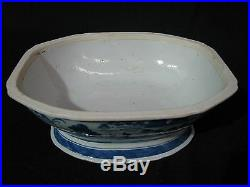 Mid-19th Century Chinese Canton Blue & White Porcelain Tureen with Boar Heads