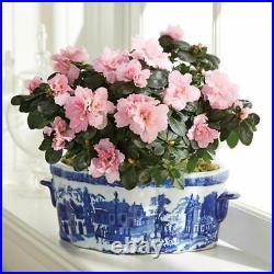 Monticello Scenic Oval Blue and White Porcelain Planter BIG SALE