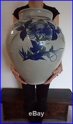 Monumental 18 Fine Korean Joseon Dynasty Cobalt Blue & White Jar Porcelain Vase