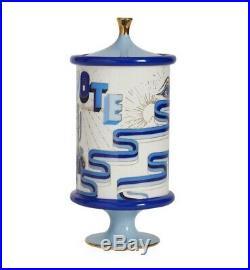 NEW Jonathan Adler Druggiest Peyote Jar Pottery Blue, white & Gold porcelain