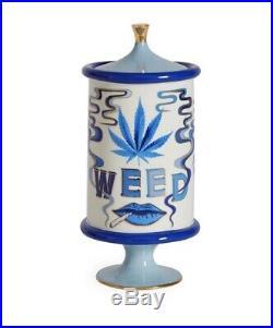 NEW Jonathan Adler Druggiest Weed Jar Pottery Blue, white & Gold porcelain