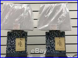 NEW PAIR (2) Ralph Lauren Blue & White Porcelain Lamp & Shade