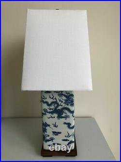NEW! Ralph Lauren Blue White Dragon Smooth Finish Porcelain Table Lamp & Shade