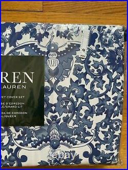 NEW Ralph Lauren Blue White Porcelain Bird Floral Duvet 3 pc Set Queen