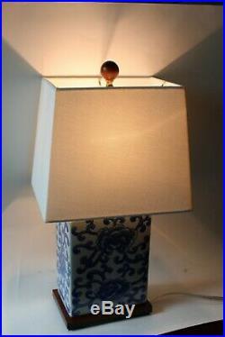 NEW Ralph Lauren Chinese Lotus Mandarin White Blue 17 Porcelain Lamp with Shade