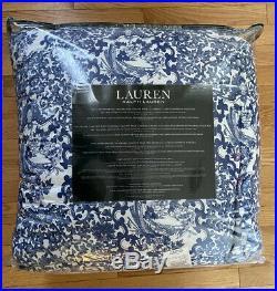NIP 3Pc. Ralph Lauren Porcelain Tamarind Bird Blue White King Comforter Shams