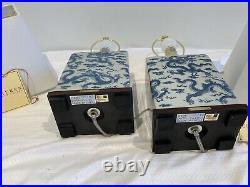 NWT Pair/2 RALPH LAUREN Porcelain CHINOISERIE Dragon LAMPS + SHADES Blue White