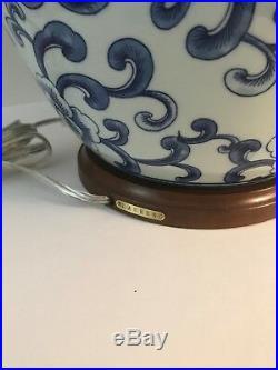 NWT Ralph Lauren Large Lotus Blossom Ginger Jar Porcelain Lamp Blue & White