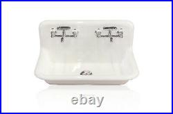 New 36 High Back Farm Cast Iron Double Faucet Wall Mount Sink 3.5 Drain White