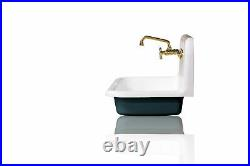 New 36 High Back Farm Sink Cast Iron Original Porcelain Wall Mount Sink, Blue