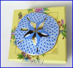 New Herend Sand Dollar Blue Fishnet #vhb-15594 Brand Nib Save$$ Cute Ocean F/sh